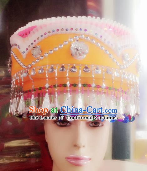 Traditional Chinese Bai Nationality Hair Accessories Tassel Hats Yi Ethnic Minority Headwear for Women
