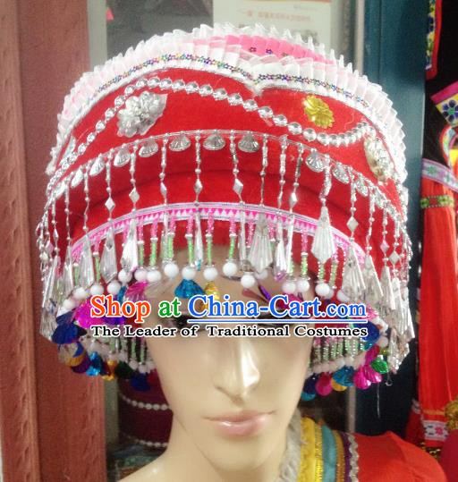 Traditional Chinese Bai Nationality Hair Accessories Red Hats Yi Ethnic Minority Headwear for Women