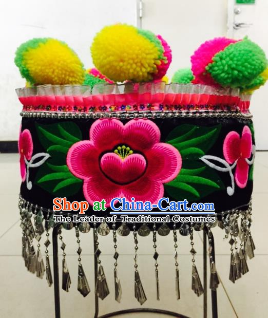Traditional Chinese Bai Nationality Hair Accessories Embroidered Hats Yi Ethnic Minority Headwear for Women