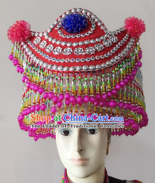Traditional Chinese Bai Nationality Hair Accessories Beads Tassel Hats Yi Ethnic Minority Headwear for Women