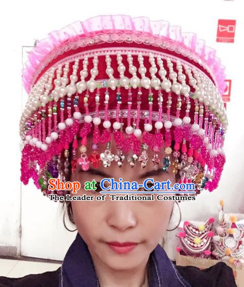 Traditional Chinese Bai Nationality Hair Accessories Female Pearls Hats Yi Ethnic Minority Headwear for Women