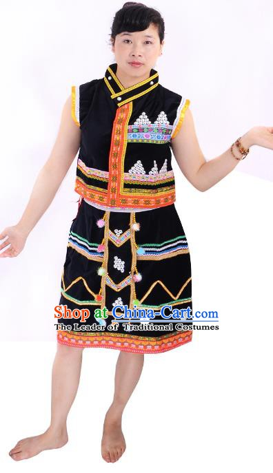 Traditional Chinese Wa Nationality Folk Dance Black Costume China Ethnic Minority Skirt for Women
