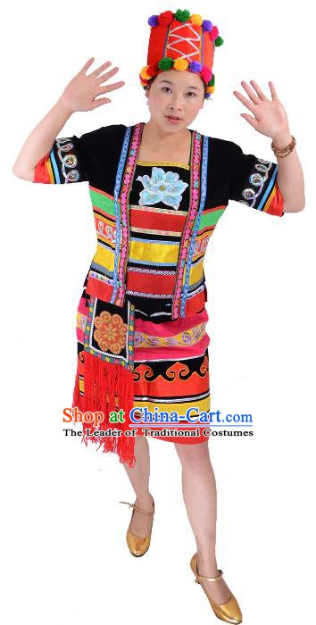 Traditional Chinese Hani Nationality Dance Costume, Female Folk Dance Ethnic Minority Embroidery Clothing for Women