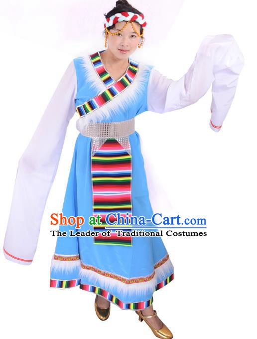 Traditional Chinese Zang Nationality Dance Costume, Tibetan Female Folk Dance Ethnic Minority Embroidery Blue Dress for Women