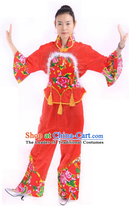 Traditional Chinese Classical Dance Yangge Fan Dance Costume, Folk Dance Drum Dance Red Uniform Yangko Costume for Women
