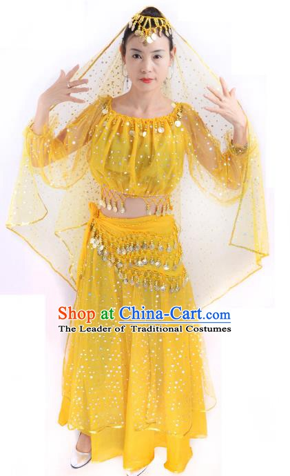 Traditional India Folk Dance Costume, Indian Female Dance Yellow Dress for Women