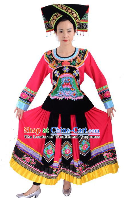 Traditional Chinese Yi Nationality Dance Pink Costume, Female Folk Dance Yi Ethnic Minority Clothing for Women