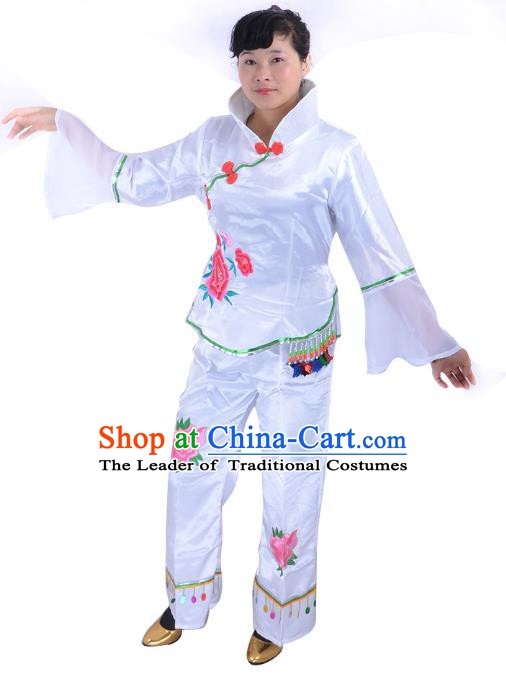 Traditional Chinese Classical Dance Yangge Fan Dancing Costume, Folk Dance Drum Dance White Uniform Yangko Costume for Women