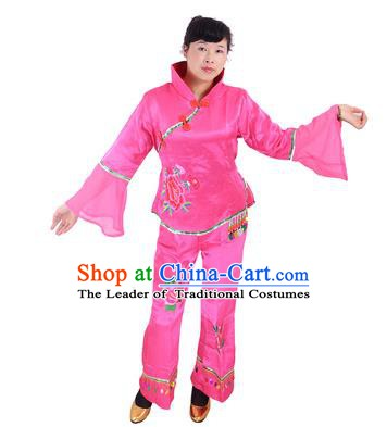 Traditional Chinese Classical Dance Yangge Fan Dancing Costume, Folk Dance Drum Dance Rosy Uniform Yangko Costume for Women