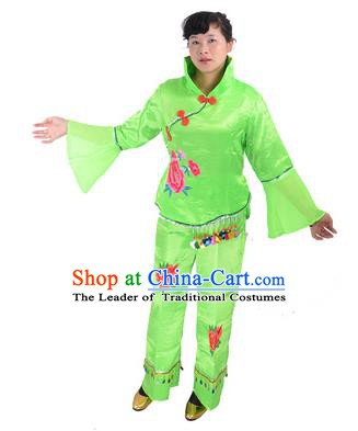 Traditional Chinese Classical Dance Yangge Fan Dancing Costume, Folk Dance Drum Dance Green Uniform Yangko Costume for Women