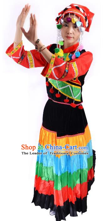 Traditional Chinese Yi Nationality Minority Dance Costume, Female Folk Dance Yi Ethnic Clothing for Women