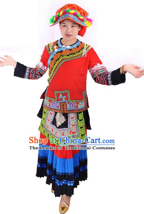 Traditional Chinese Yi Nationality Minority Dance Costume, Female Folk Dance Yi Ethnic Pleated Skirt Clothing for Women