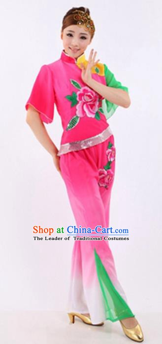 Traditional Chinese Classical Dance Yangge Fan Dancing Costume, Folk Dance Drum Dance Pink Uniform Yangko Costume for Women
