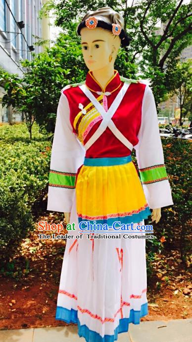 Traditional Chinese Naxi Nationality Minority Dance Costume, Female Folk Dance Yi Ethnic Clothing for Women