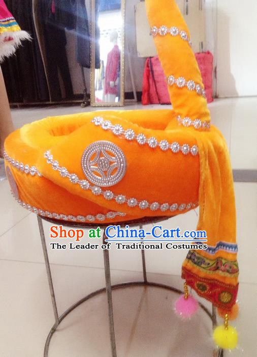 Traditional Chinese Yi Nationality Hair Accessories Yellow Hats Ethnic Minority Headwear for Men