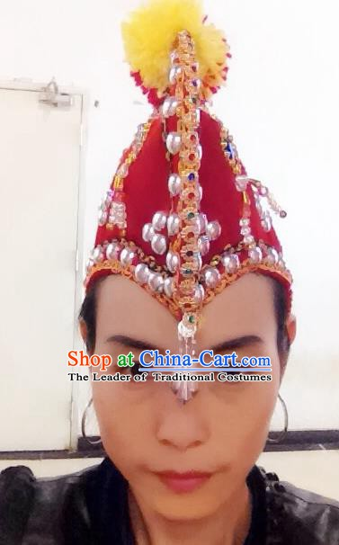 Traditional Chinese Hani Nationality Hair Accessories Red Cockscomb Hats Ethnic Minority Headwear for Women