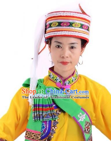 Traditional Chinese Bai Nationality Hair Accessories Ethnic Minority Embroidered Hats Headwear for Women