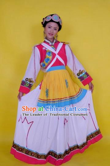 Traditional Chinese Naxi Nationality Costume, China Yi Ethnic Folk Dance White Dress Clothing for Women
