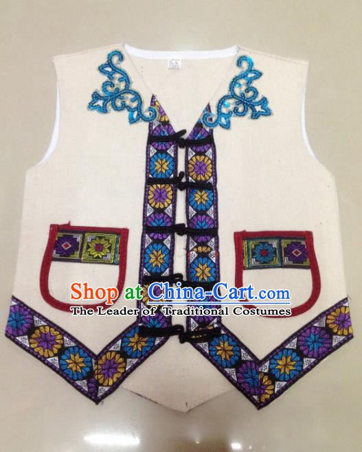 Traditional Chinese Yi Nationality Costume White Vest Ethnic Folk Dance Clothing for Kids