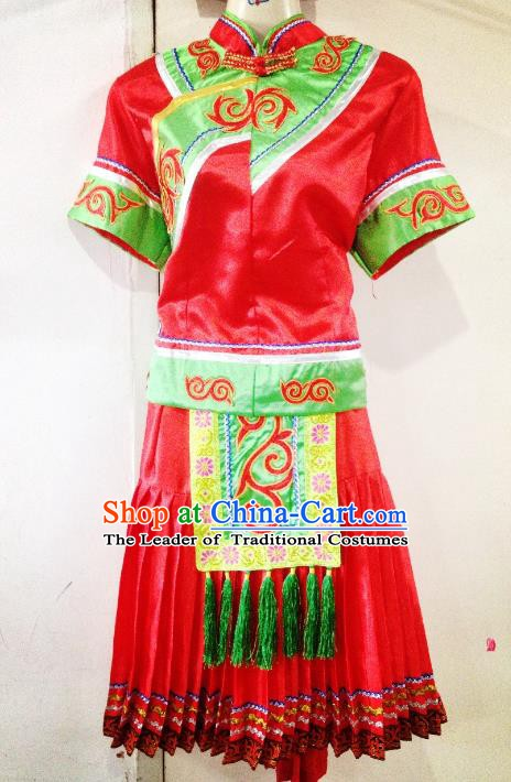 Traditional Chinese Bai Nationality Minority Dance Red Dress, Female Folk Dance Yi Ethnic Clothing for Women