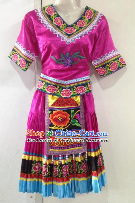 Traditional Chinese Yi Nationality Minority Dance Rosy Dress, Female Folk Dance Yi Ethnic Clothing for Women