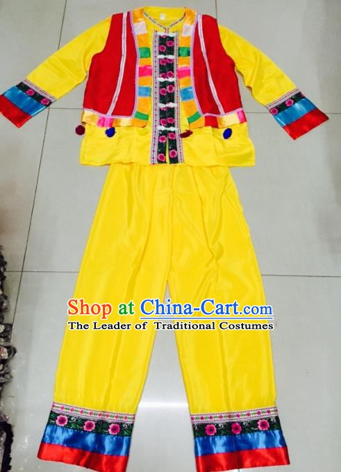 Traditional Chinese Dai Nationality Costume Ethnic Folk Dance Embroidered Clothing for Men