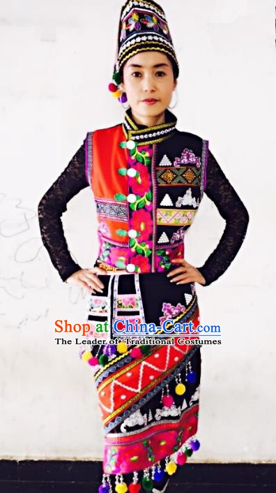 Traditional Chinese Gaoshan Nationality Dance Costume Folk Dance Ethnic Clothing for Women