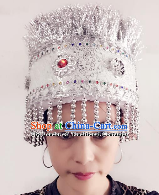 Traditional Chinese Miao Nationality Hair Accessories Ethnic Minority Female Wedding Hats Headwear for Women
