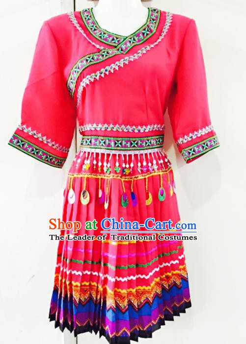 Traditional Chinese Miao Nationality Dance Costume Rosy Dress Folk Dance Ethnic Clothing for Women