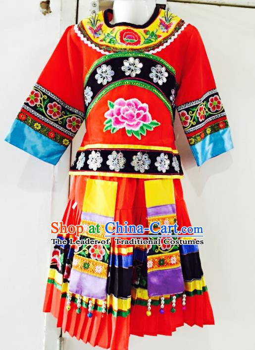 Traditional Chinese Jingpo Nationality Dance Costume Folk Dance Ethnic Red Dress Clothing for Kids