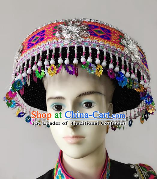 Traditional Chinese Yi Nationality Hats Hair Accessories Ethnic Minority Headwear for Women