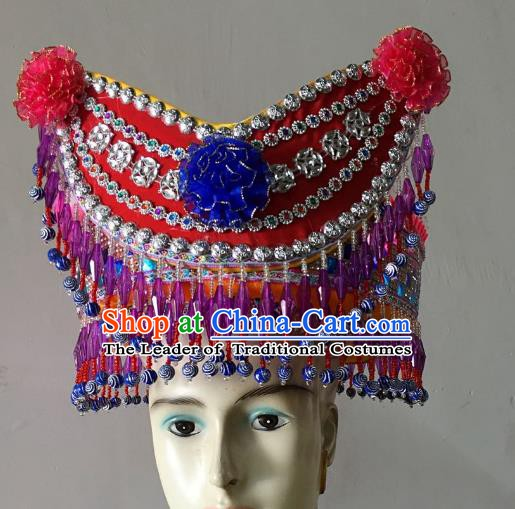 Traditional Chinese Yi Nationality Minority Hats Hair Accessories Ethnic Headwear for Women