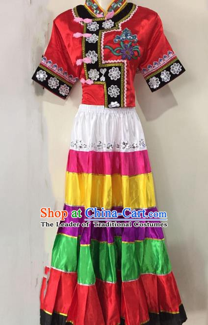 Traditional Chinese Yi Nationality Performance Dance Dress Folk Dance Ethnic Embroidered Costume for Women