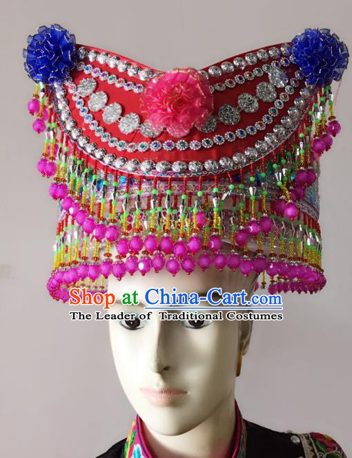 Traditional Chinese Yi Nationality Minority Beads Tassel Hats Hair Accessories Ethnic Headwear for Women