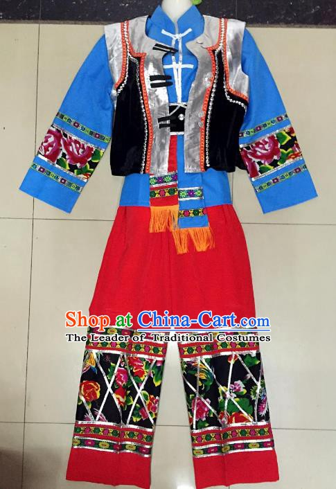 Traditional Chinese Nationality Costume Ethnic Folk Dance Embroidered Clothing for Men