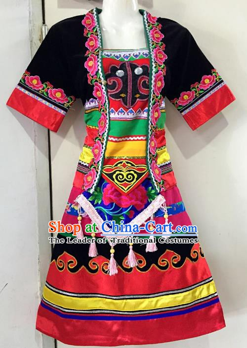 Traditional Chinese Hani Nationality Dance Costume Folk Dance Ethnic Dress Clothing for Women