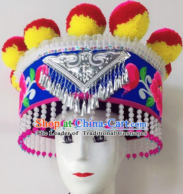 Traditional Chinese Handmade Yi Nationality Tassel Hair Accessories Ethnic Hats Headwear for Women