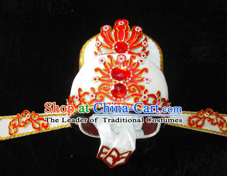Traditional Chinese Beijing Opera Niche Hair Accessories White Hats Peking Opera Scholar Headwear