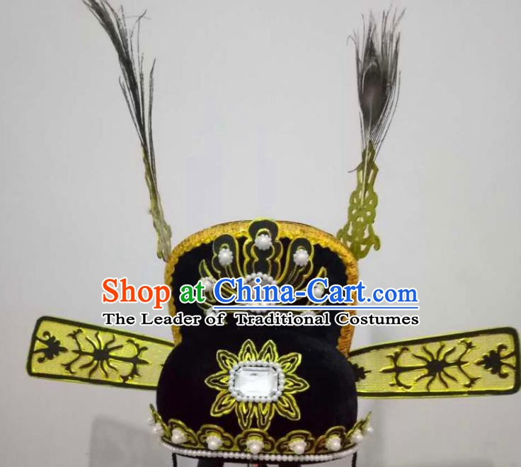 Traditional Chinese Beijing Opera Niche Hair Accessories Black Hats Peking Opera Scholar Headwear