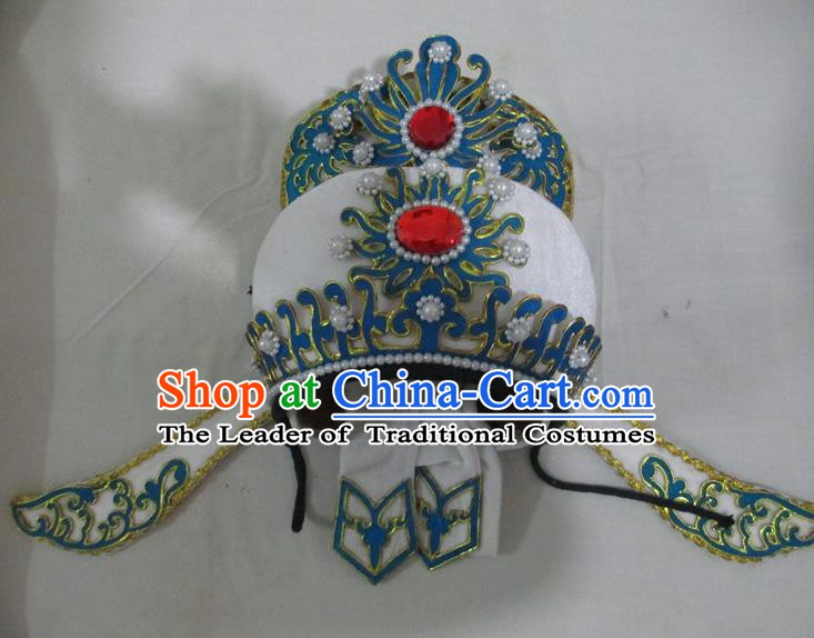 Traditional Chinese Beijing Opera Niche Hair Accessories White Hats Peking Opera Young Men Headwear