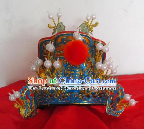 Traditional Chinese Beijing Opera Emperor Hair Accessories Peking Opera Golden Hats Headwear