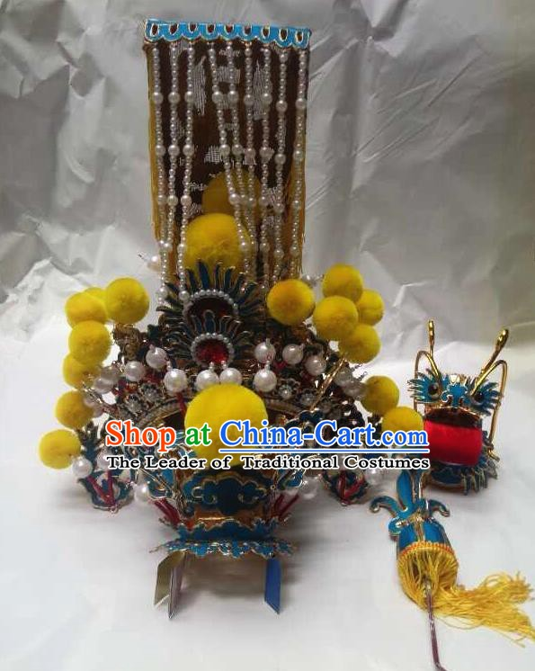 Traditional Chinese Beijing Opera Emperor Helmet Hair Accessories Peking Opera Padishah Golden Tassel Hats Headwear