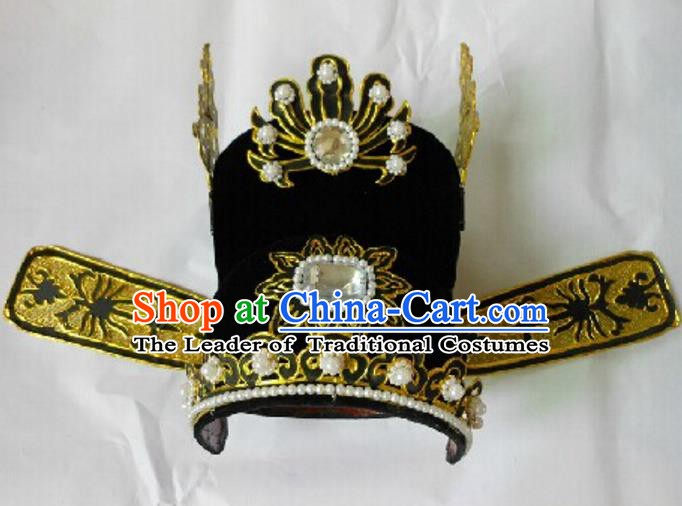 Traditional Chinese Beijing Opera Niche Black Hats Hair Accessories Peking Opera Headwear