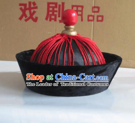 Traditional Chinese Beijing Opera Qing Dynasty Eunuch Hats Hair Accessories Peking Opera Headwear