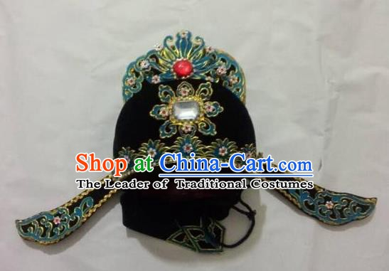 Traditional Chinese Beijing Opera Young Men Black Hats Hair Accessories Peking Opera Niche Headwear