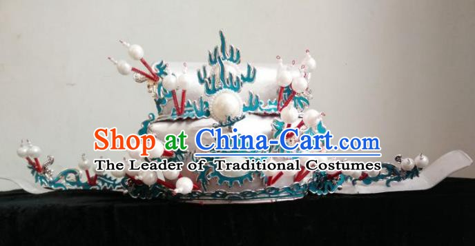 Traditional Chinese Beijing Opera Prime Minister White Hats Peking Opera Niche Headwear