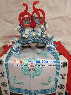 Traditional Chinese Beijing Opera General White Hats Peking Opera Military Officer Headwear