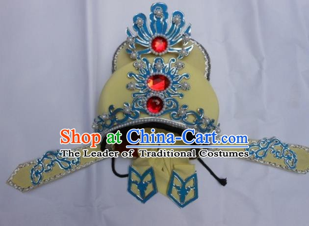 Traditional Chinese Beijing Opera Scholar Yellow Hats Peking Opera Niche Headwear