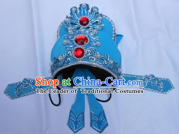 Traditional Chinese Beijing Opera Scholar Blue Hats Peking Opera Niche Headwear