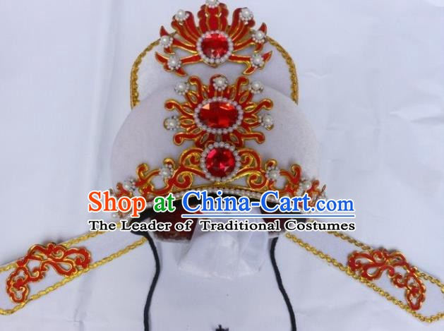 Traditional Chinese Beijing Opera Scholar White Hats Peking Opera Niche Headwear
